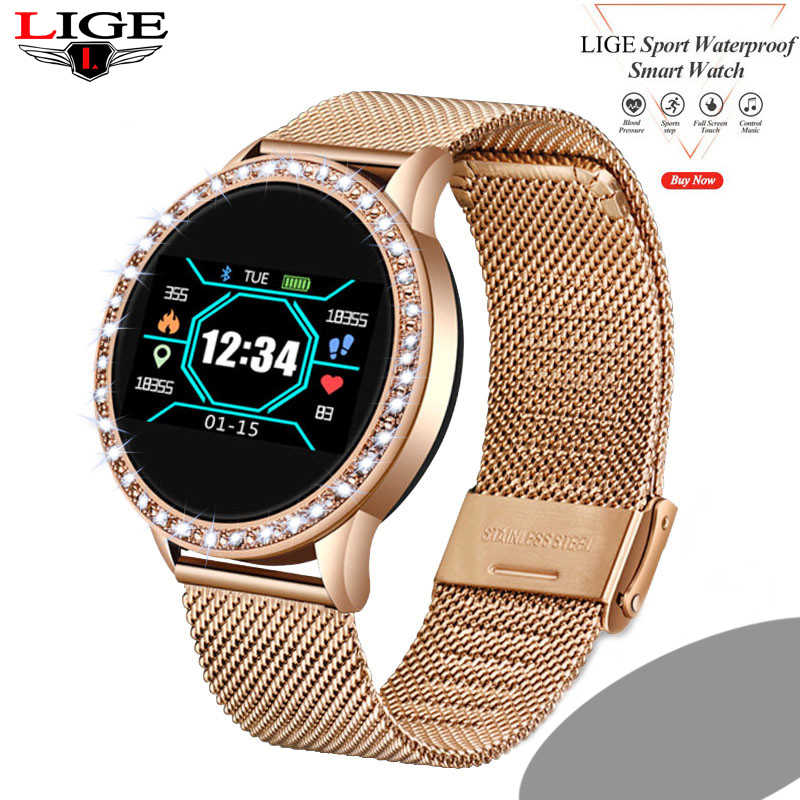 LIGE Ladies Smart watch Full Screen Diamond Smartwatch Sport Waterproof Heart Rate Monitor Blood Pressure Fitness Tracker N58