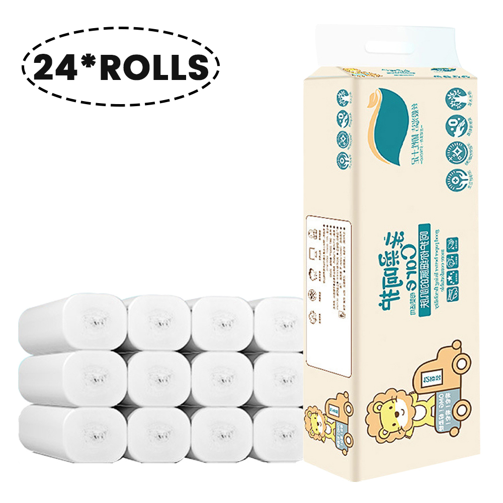 24 Rolls/pack 4-Layer Soft Toilet Roll Paper Native Wood Toilet Paper Pulp Home Rolling Paper Strong Water Absorption Raw Wood
