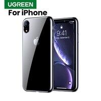 Ugreen caso para iphone xr caso preto prata vermelho galvanizado bordas transparente de volta para iphone capa de luxo para iphone xr caso