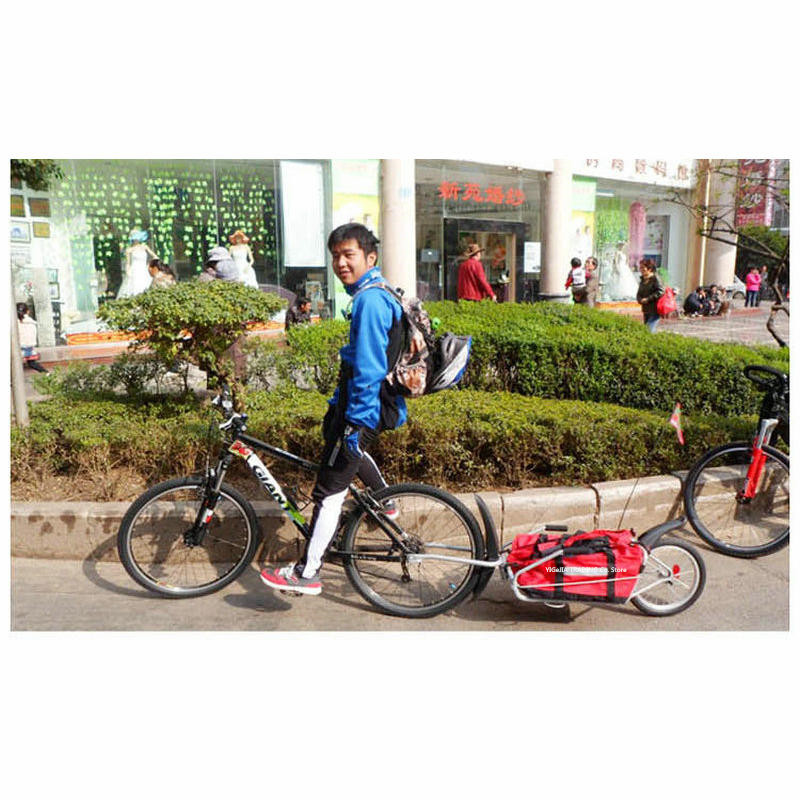 Single Wheel Bicycle Trailer With Free Bag Can Load 66LB, Bicycle Luggage Trailer, 16inch Big Wheel Cargo Bike Trailer