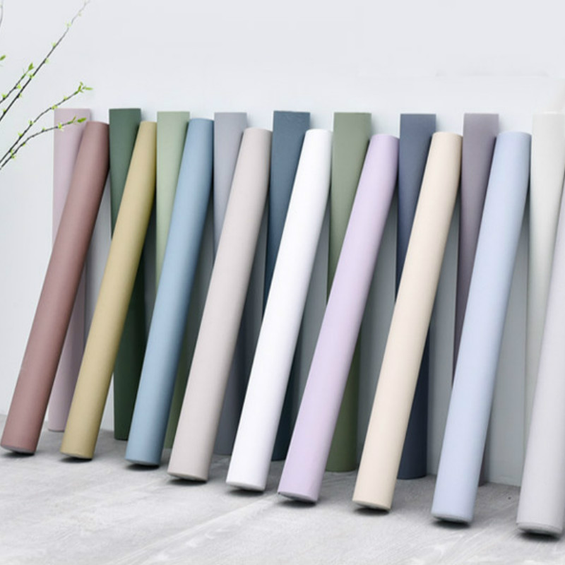 Morandi Color PVC Waterproof Thickened Wallpaper Self-Adhesive Solid Color Plain Sticker Bedroom Living Room Hotel Wall Papers