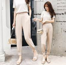 Half-elastic Waist Women Pants Casual High Waist Pencil Pant Elegant Side Split Work Trouser Female pantalon femme 2019 LJ433(China)