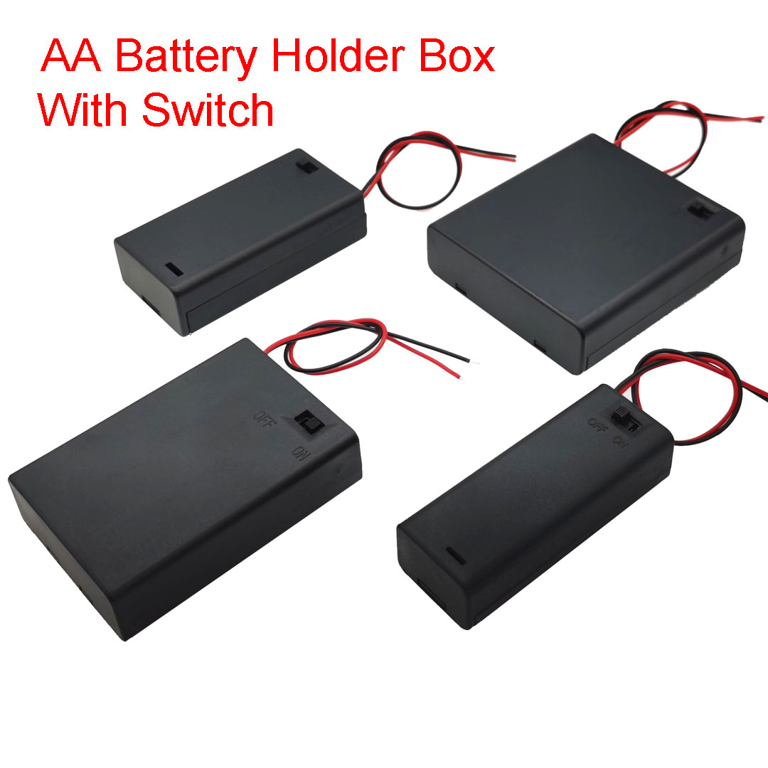 DIY 1/2/3/4 Slot AA Battery Holder Box Case AA Battery Holder Box Case With Switch