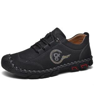 Image 2 - أحذية من الجلد حذاء رجالي جودة انقسام الجلود حذاء كاجوال الأخفاف حذاء رجالي جلد حجم 36 48