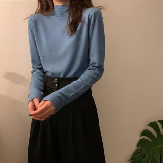 2021 autumn Black White solid Women Long Sleeve T-shirts half Turtleneck Female T-shirt Casual slim T shirt Bottoming Shirt top 5
