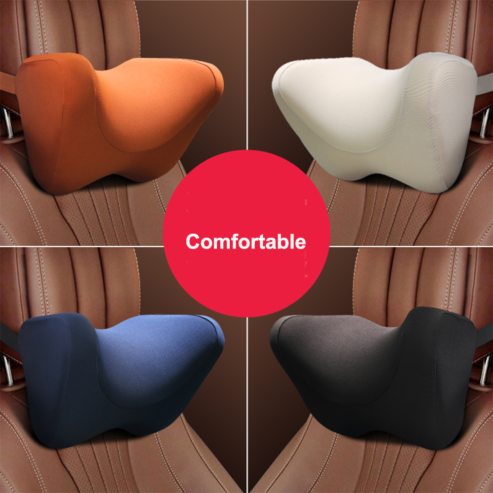 New car seat neck pillow U-shaped black leather breathable net protector auxiliary facility interior for various models
