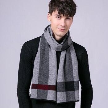 100% de invierno bufanda de lana Real para hombre, chal de lujo para Pashmina, chal largo de lana pura, chales de negocios para hombre, chales