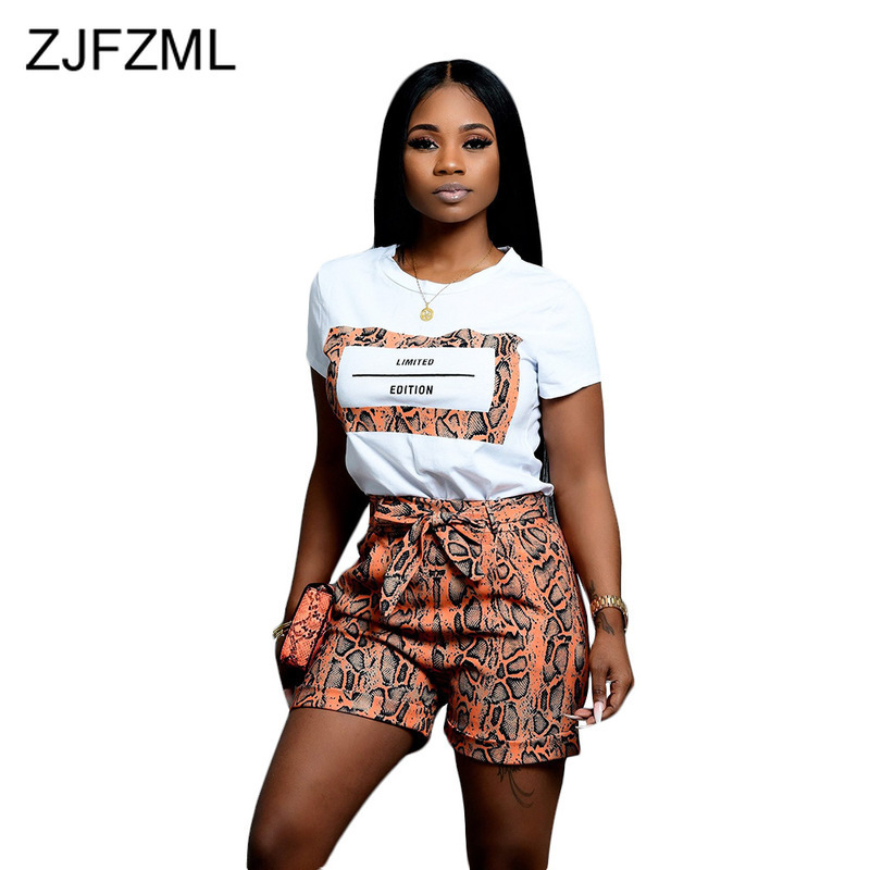 Snake Skin Print Sexy 2 Piece Outfits For Women O Neck Short Sleeve T Shirt And Bodycon  Shorts Sweat Suits Vintage Matching Set