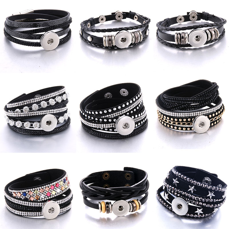 Snap Bracelet Jewelry-Accessories Rhinestone Women Gift Multilayer Black for Diy 18mm