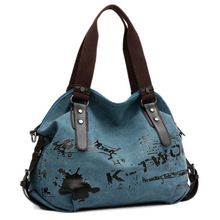Short-haul Travel Bag Female Printed Canvas Handbag Retro Gr