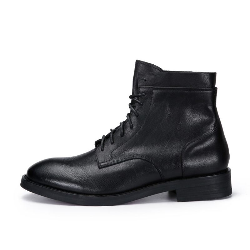 New Winter Warm Fleece Genuine Leather Boots Men Business Casual Round Toe Lace Up Boots Designer High Quality Men Shoes