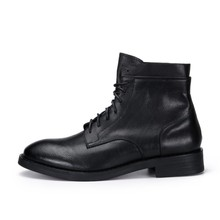 Nieuwe Winter Warm Fleece Lederen Laarzen Mannen Business Casual Ronde Neus Lace Up Laarzen Designer Hoge Kwaliteit Mannen Schoenen(China)