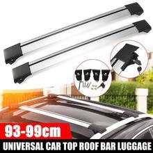 2X 93cm   99cm 97cm Universal Auto Dach Rack Korb Top Schiene Kreuz Streifen Bar Gepäck Träger für Angehoben Schiene