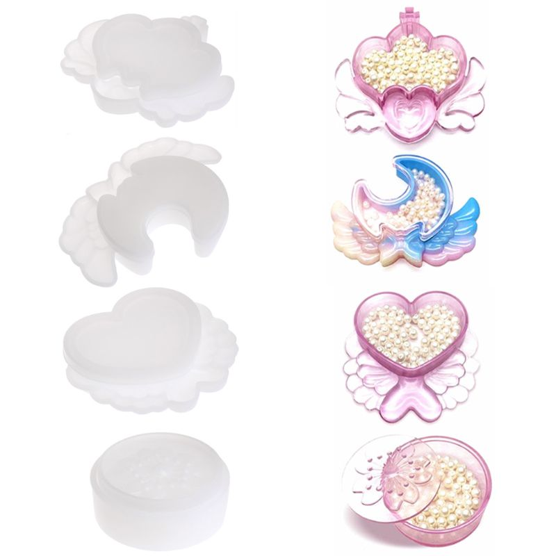 DIY Handmade Storage Jewelry Box Love Heart Moon Flower Silicone Mold Crystal Epoxy Molds T4MD in Jewelry Tools Equipments from Jewelry Accessories