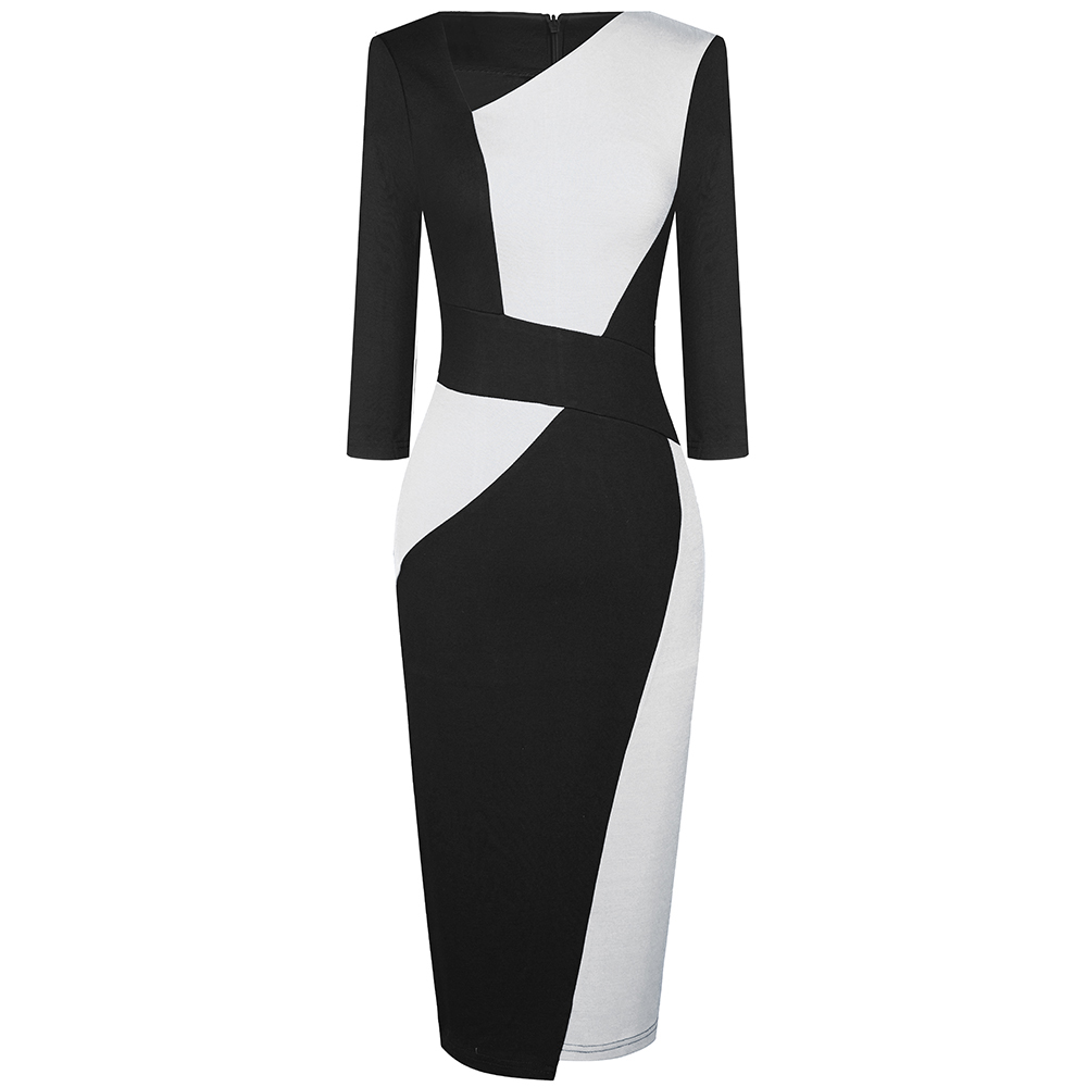 Vintage Women Patchwork Asymmetrical Collar Elegant Casual Work Office Sheath Slim Dress EB517 15