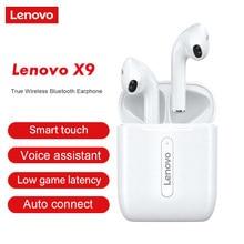 Lenovo x9 tws fones de ouvido bluetooth 5.0 verdadeiro sem fio fones de ouvido de controle de toque esporte fone de ouvido sweatproof in-ear fones de ouvido com microfone