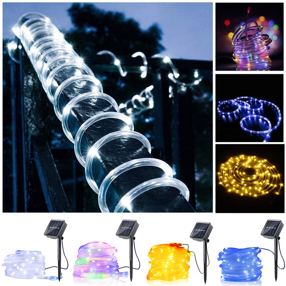 Image 5 - 12m 100 Led Solar Garden Light Outdoor Rope Tube String Lights 50 Led Strip Solar Power Lamp Waterproof Wedding Xmas Fairy Decor-in Solar Lamps from Lights & Lighting