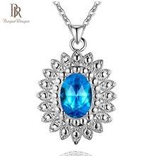 Bague Ringen Luxury Silver 925 Jewelry Coloured Gemstones Necklace for Women Aquamarine Sapphire Ruby Emerald Topaz Sunflower