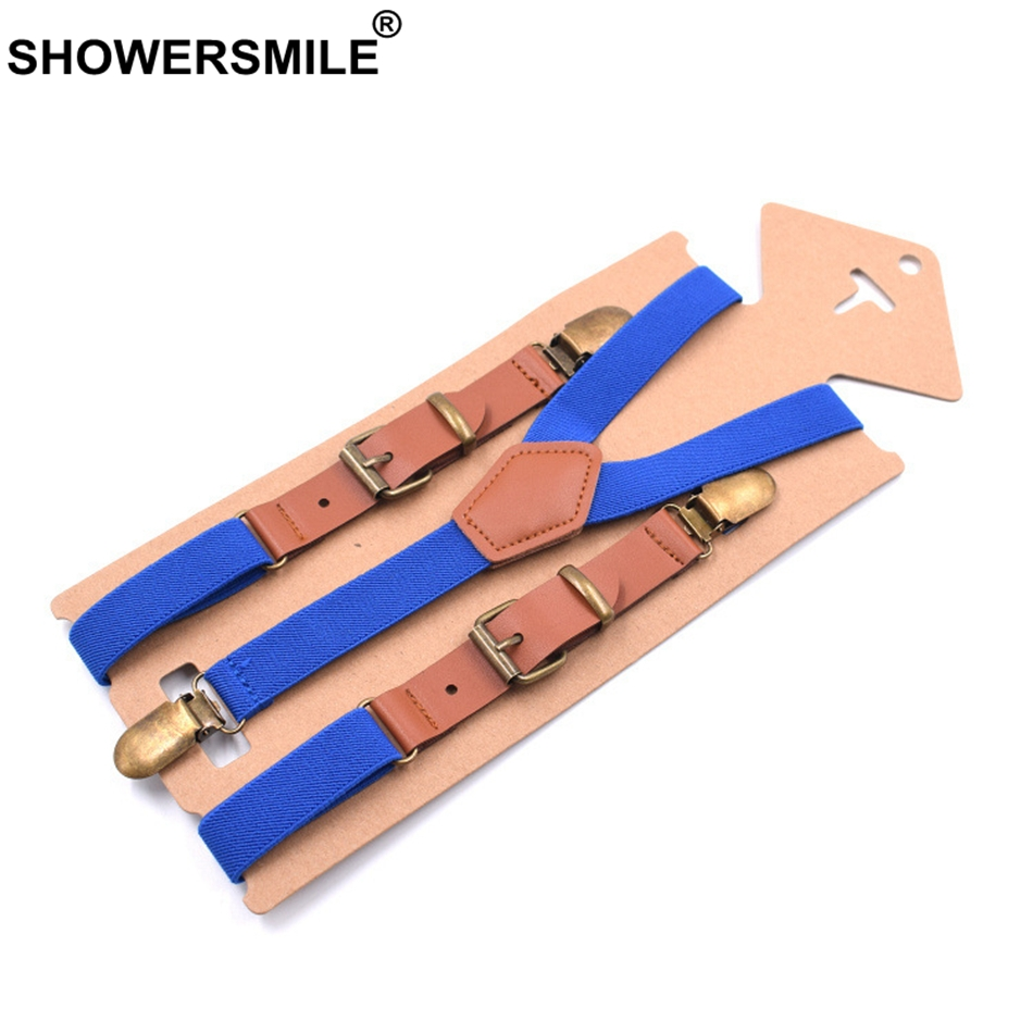SHOWERSMILE Men's Leather Suspenders Blue Man Braces For Trousers Y Back Women's Wedding Business Pants Strap With 3 Clips 115cm