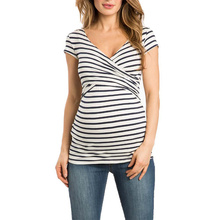 Women Striped Pregnant Nursing Baby For Maternity Multifunctionl Blouse T-Shirt Pregnancy Clothes Woman Cloth