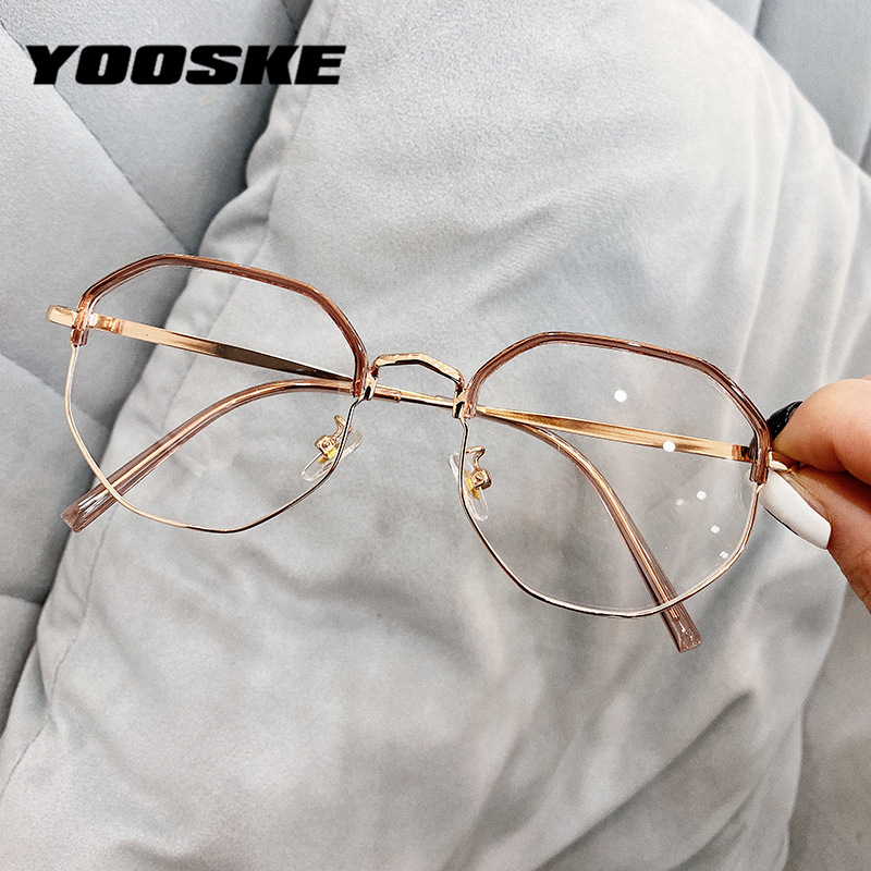 YOOSKE Polygon Eyeglasses Women Men Anti Blue Light Glasses Half Frame Computer Eyewear Metal Spectacles Frames