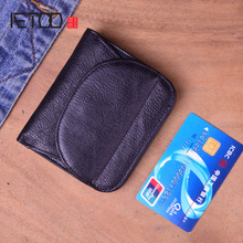 AETOO Simple retro first layer leather small wallet men and women handmade original leather short clips purse ultra-thin short aetoo original retro wrinkled leather vertical wallet men s short paragraph the first layer of leather wallet zipper small card