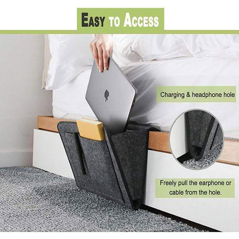 <font><b>Sofa</b></font> Bedside Felt Storage Bag Bed <font><b>Sofa</b></font> Side Pouch <font><b>Remote</b></font> Control Hanging Caddy Bedside Couch Storage Organizer Bed Holder <font><b>Pocket</b></font> image