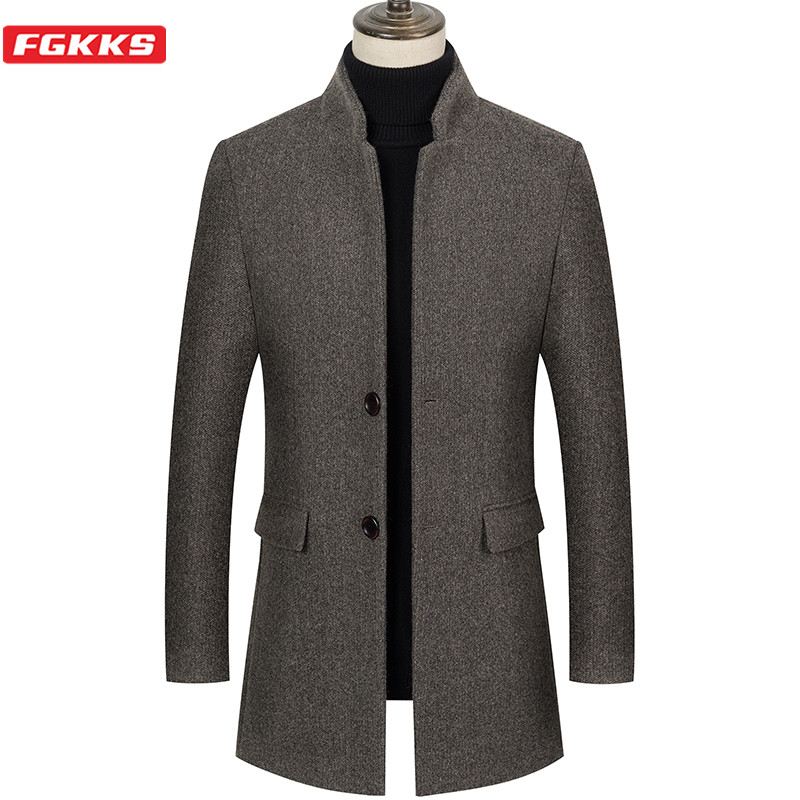 FGKKS 2020 New Men Wool Coat Men's Winter Fashion Solid Color Warm Thick Wool Blends Woolen Coat Male Trench Coat Overcoat