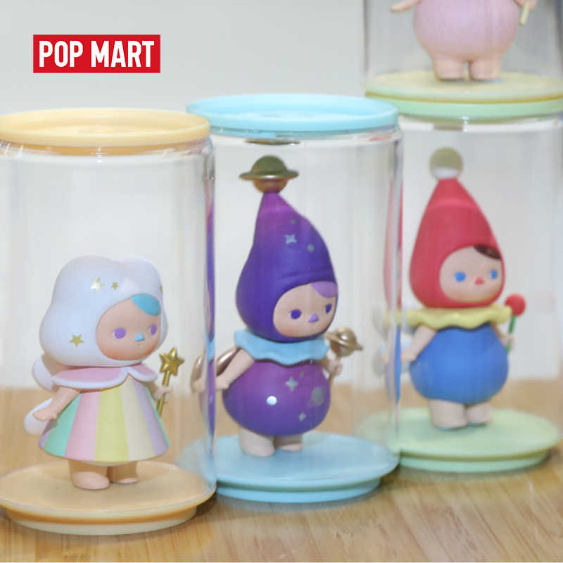 POPMART ของเล่นจอแสดงผลกระป๋องสุ่มกล่องพลาสติกของขวัญจัดส่งฟรี