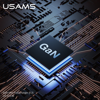USAMS GAN 65W USB C Charger Quick Charge QC4.0 QC3.0 PD3.0 PD USB Type C Fast Charger + USB Cable For Macbook Pro iPhone Samsung Huawei
