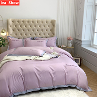 Iva Show Gray High end Tencel Bedding Set Embroidery Bed Set Milk Tea Color Edge Pillowcase Queen King Size Bed Four pieces