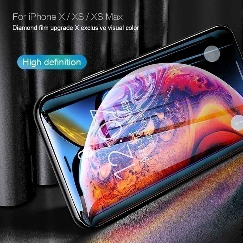 200D Melengkung Kaca Pelindung untuk iPhone 11 Pro XS Max X XR XS Pelindung Layar Anti Gores Kaca iPhone 6S 6 7 8 PLUS Kaca Film