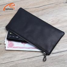 Skórzany portfel męski długi odcinek dorywczo mała torba dla człowieka czarny organizator telefon torebka klip na pieniądze karta sakiewka na monety NUPUGOO