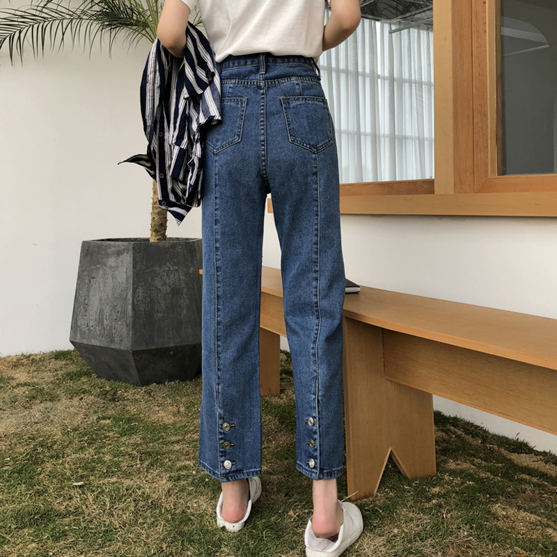 Spring 2019 New Style WOMEN'S Dress Retro Hong Kong Style Korean-style Slit Straight-Cut Jeans Students High-waisted Loose-Fit C