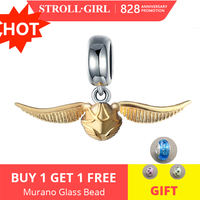 Strollgirl Beads Fit Bracelet Pendant Charms Jewelry-Making Gift 925-Silver Golden Snitch