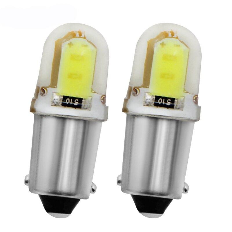 2Pcs BA9S T4W 363 1895 233 Super Bright Round 3D COB LED Pure White Car License Plate Light Bulb Auto Lamp Marker Light DC 12V