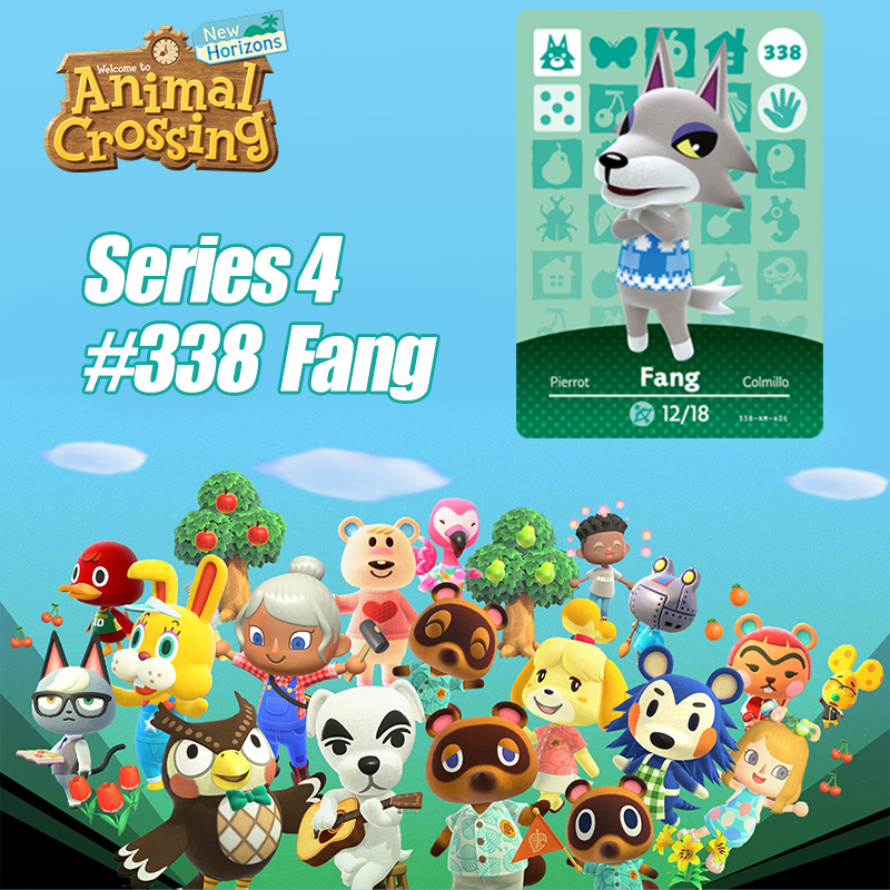 Animal Crossing New Horizons Card Amiibo Card Work For NS Switch Game  # 338 Fang Cards Drop Shipping