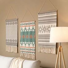 Tapestry Decorative Hanging Cloth Tassel Hand-Woven Cotton Painting Bedroom Living Room  Wall area rug