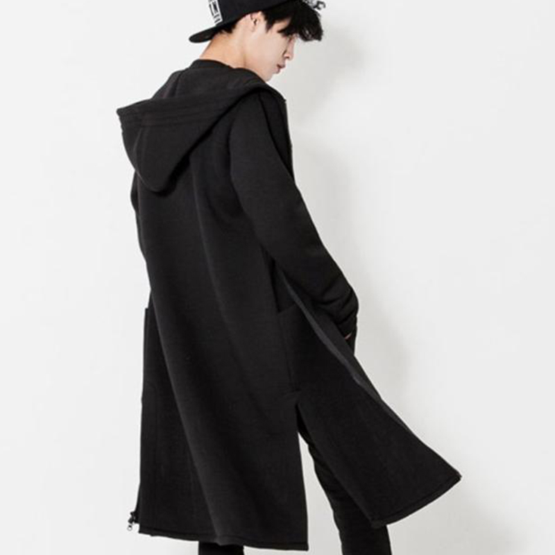 M-4XL Autumn And Winter Plus Velvet Thick Men's Cardigan Long Korean Loose British Style Hooded Jacket Tide Men's Plus Size