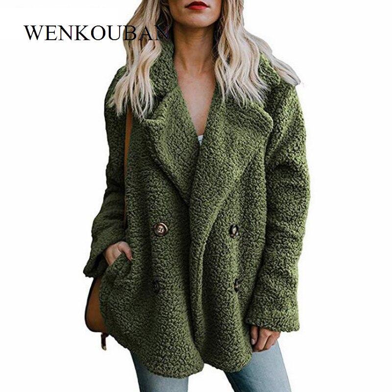 Plush Coat Women Winter Jackets Fluffy Teddy Coat Female Warm Artificial Fleece Winter Clothes  5XL Plus Size Manteau Femme