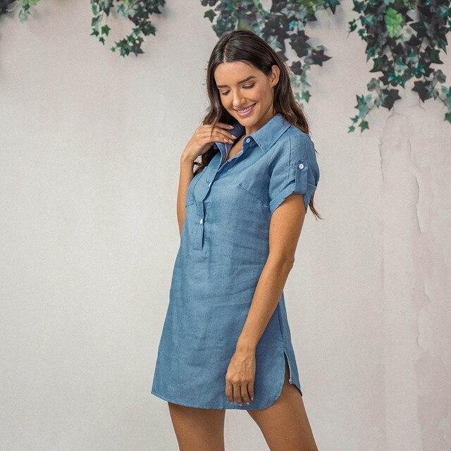 Denim Solid  Short Sleeves V-neck  Casual Turn Down Collar shirt Dress 2