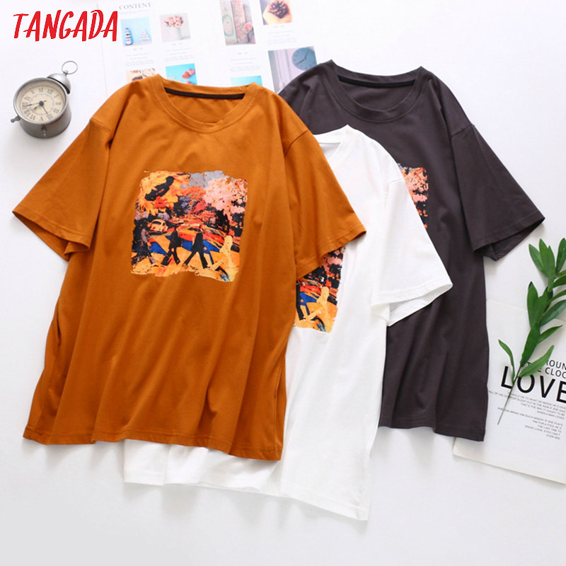 Tangada Women Painting Print Cotton T Shirt Short Sleeve 2020 Summer Tees Ladies Casual Tee Shirt Street Wear Top XLJ01