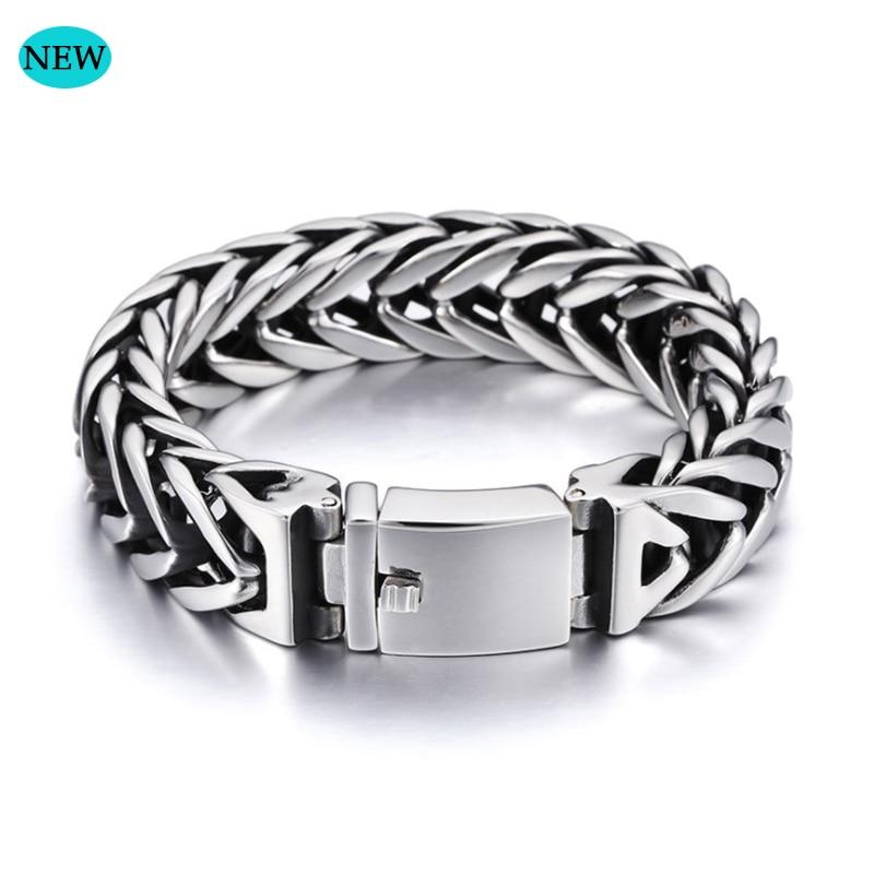 Chaîne cubaine bouddha bracelet 23 cm bijoux pour hommes en acier mâle chaîne 17mm de large bracelet en acier inoxydable chaîne bracelet cadeau BB006