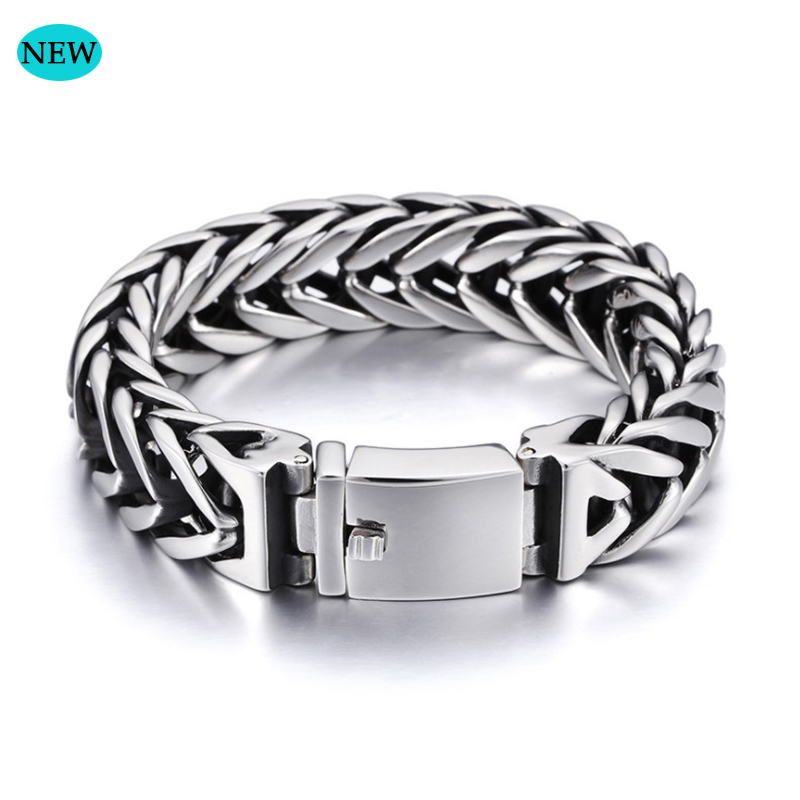 Stainless Steel Vintage Cuban Curb Chain Bracelet 17mm Wide Babara Bracelet Buddha Chain Silver Wristband Gift BB006