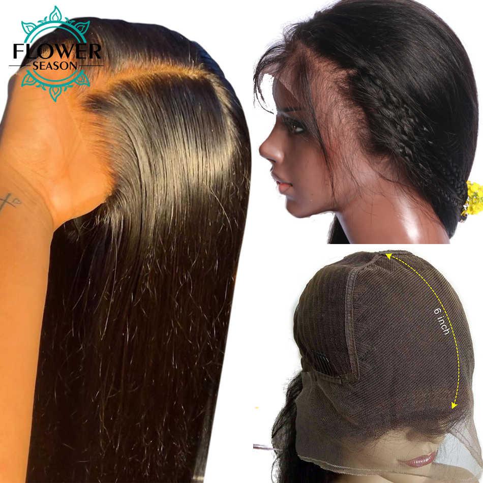 Glueless 13*6 koronkowa peruka na przód Silky proste włosy ludzkie peruki Indian Remy z dzieckiem włosy PrePlucked 130% gęstość dla kobiet