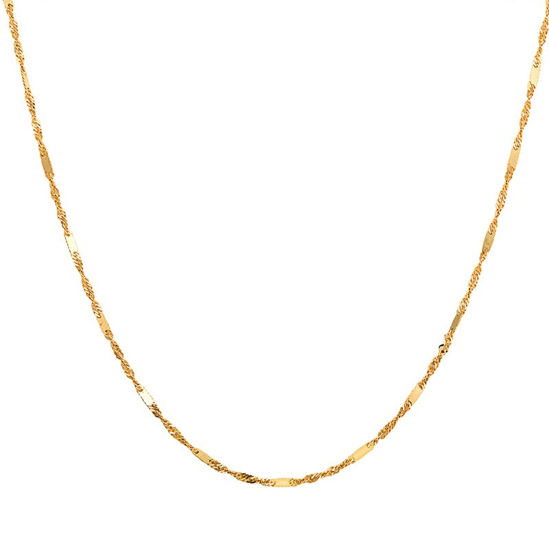 """Pure Solid 18K Gold Necklace Women Luck Special Singapore Link Chain 1mmW 16"""" 18"""" (18K Yellow / Rose / White / Multi-tone Gold) 6"""