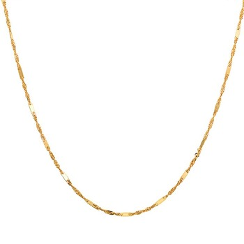 Pure Solid 18K Gold Necklace Women Luck Special Singapore Link Chain 1mmW 16