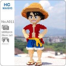 HC A011 Anime One Piece maymun D Luffy korsan kahraman 3D modeli DIY Mini elmas blokları tuğla yapı oyuncak çocuk hiçbir kutu