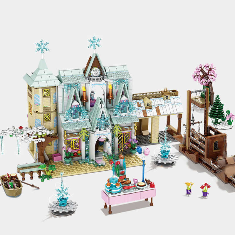 Magia del ghiaccio Neve Principessa Blocchi di Costruzione Per Bambini Di Natale di Inverno Regalo di Festival Castello Amico Delle Ragazze Assemblaggio Mattoni Giocattoli