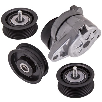 Drive Belt Tensioner w/Pulley + 3 Idler Pulley for Mercedes C300 C350 E350 ML350 2722000070 2722020719